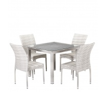 Комплект плетеной мебели T257A/Y380-W85-90x90 4Pcs Latte (AM)