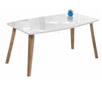 Стеклянный стол Серсея белый / дуб монтана (LM)