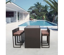 Барный комплект плетеной мебели T390AD/Y390A-W63_6Pcs Brown (AM)