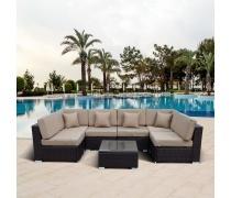 Плетеный модульный диван YR822BB-Brown/Brown (AM)