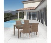 Комплект плетеной мебели T256B/Y380B-W56 Light Brown 4Pcs (AM)