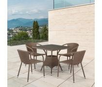 Комплект мебели из иск. ротанга T197BT/Y137C-W56 Light brown (4+1) (AM)
