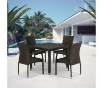 Комплект плетеной мебели T257A/Y379A-W53 Brown 4Pcs (AM)