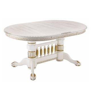 Деревянный стол Кантри молочный с золотой патиной