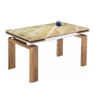 Стеклянный стол Давос бежевый мрамор / дуб монтана