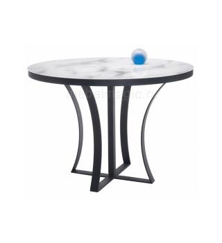 Стеклянный стол Нейтон белый мрамор / графит