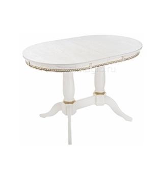 Деревянный стол Кантри 120 молочный с золотой патиной