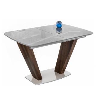 Стол на тумбе Петир серый / орех кантри